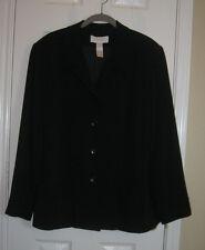 ELISABETH Black Jacket Blazer Blouse ~ SZ 16 ~ Career Perfection!