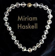 VTG MIRIAM HASKELL LUCITE BEAD NECKLACE ~SIGNED~ Faceted Clear Beads Strand