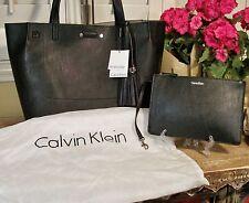 Calvin Klein Black Tassels Reversible Tote Crossbody NWT $170