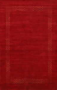 RED/ GOLD Geometric Contemporary Gabbeh Oriental Area Rug Modern Home Decor 6x8