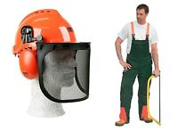 Schnittschutz Set 2 tlg Helm Schnittschutzhose EU Herstellung + Forsthelm Oregon