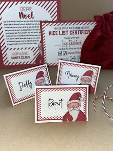 Personalised Santa Christmas Place Cards Glitter Star Place Setting Name Card