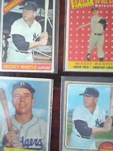 Vintage 1960 's Mickey Mantle, 1950's Pee Wee Reese baseball cards