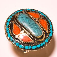 Tibetan Turquoise Red Coral Gemstone Jewelry Adjustable Nepali Ring USA-.4877