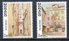 TIMBRE DE MONACO N° 1669/1670 ** VUE DU VIEUX MONACO VILLE / PLACE SAINT NICOLAS