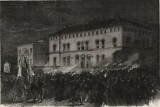 Torchlight welcome to Prince Frederick in Kiel at the Railway Hotel, print, 1864