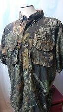 REMINGTON Men's Camouflage Camo Mossy Oak Short Sleeve Button Shirt size Large L