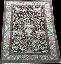 """A Must See Antique Black Ground Esphane Ahmad Area Rug """"Private Collection"""""""