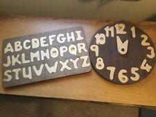 Handmade Clock and Alphabet Wooden Puzzles