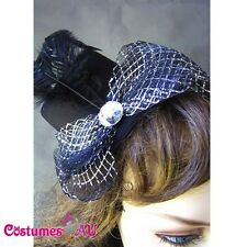 Black Mini Top Hat with bow Burlesque Fascinator
