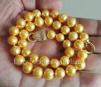 schöne kultivierte 10-11mm gelb Süßwasserperlen Tiger Kopf Halskette 17 Zoll