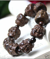 Rare Huge Agarwood Carved Buddha Head Tibet Buddhist Prayer Beads Mala Bracelet