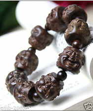 Rare Huge Agarwood Carved Buddha Head Tibet Buddhist Prayer Beads Mala Bracelet