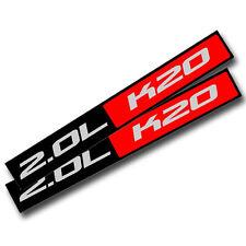2X BLACK/RED METAL 2.0L K20 ENGINE RACE MOTOR SWAP BADGE FOR TRUNK HOOD DOOR