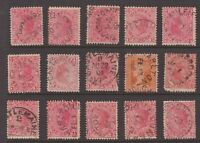Victoria postmark selection on 15 x 1d red QV including unframed