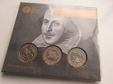 2016 UK £2 Three coin set. Shakespeare set. Mint/sealed pack