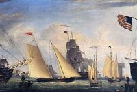 Oil painting Fitz Hugh Lane - Yacht 'Northern Light' in Boston Harbor seascape