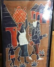 Vintage African Village Painting on Fabric - Natural Pigments