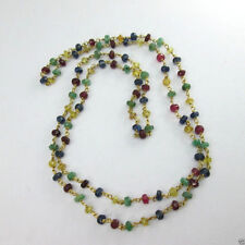 """Beautiful Natural Emerald Ruby &Sapphire Multi Color Beads Necklace 18K 24"""" Long"""