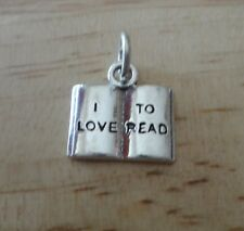 Sterling Silver 3D 14x13mm says I Love to Read on a Book Charm