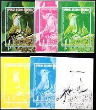 EQUATORIAL GUINEA BIRDS 200e  TRIAL COLOR PROOFS MNH x 6 S/S