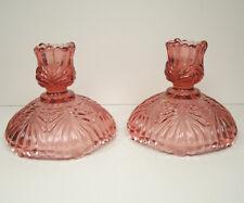 Fenton Art Glass Dusty Rose Candle Sticks Holders