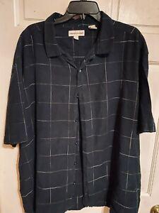 Pronto Uomo Men's Sz 4X 55% Linen, 45% Cotton Button Front Black/White Shirt~EXC