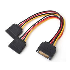 20cm SATA 15Pin Male to 2 x 15P Female Y Splitter Adapter Power Cable cord