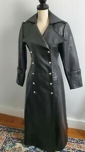 Black Faux Leather Trench Coat Full Length Double Breasted Cosplay Women's M