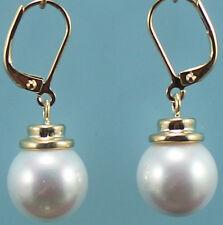 schöne 12mm weiße Schale Perle 18KGP Ohrringe
