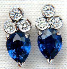 $5000 3.45CT NATURAL SAPPHIRE DIAMONDS CLUSTER STUD EARRINGS 14KT VIVID BLUE