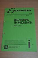 Werkstatthandbuch CITROEN Evasion Beschreibung Technische Daten 1998