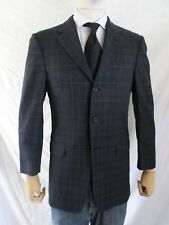 HICKEY FREEMAN Madison blue plaid wool silk blazer sport coat jacket 36R