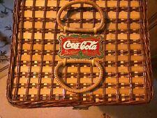 """1994 Coca-Cola Wicker Picnic Basket #8810 Coke 12"""" x 10"""" x 11"""""""