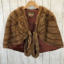Brown MINK Fur Stole Pastel Brown Cape Capelet Wrap Shawl Jacket VTG J.P. Allen