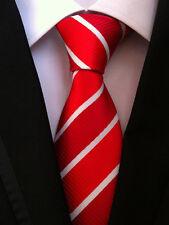 Classic Mens Necktie Fancy Silk Red Striped Ties Wedding Party Business XT-069