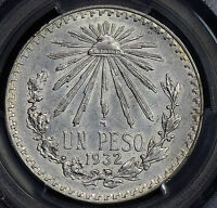 PC0139 Mexico 1945 M Peso silver cap and rays PCGS MS65
