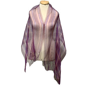 UNBRANDED STRIPED PURPLE LONG POLYESTER Scarf 60/24 in #A4 WITH FRINGES