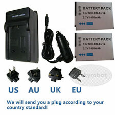 2 Pcs EN-EL12 battery+ Charger for Nikon Coolpix AW100 AW110 AW120 AW130 S6300