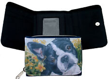 BOSTON TERRIER DOG DENIM BLUE FABRIC PURSE WALLET OIL PAINTING PRINT SANDRA COEN
