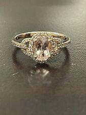 14K Rose Gold Signed RI Pink Morganite Oval Halo Diamond Ring 1.25 ct tw