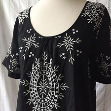Lost April Black Embroidered Peasant Blouse Top Shirt Short Sleeves Small