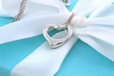 "Tiffany & Co. Small 2 Diamond Open Heart Silver Pendant 16"" Necklace w/Packaging"