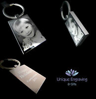 Personalised Photo Engraved Rectangle Keyring Keychain - Dad / Fathers Day Gift!