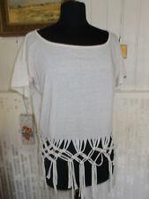 Tee shirt TUNIQUE COP COPINE Bodega beige S 36/38 coton/lin beige fils tressés