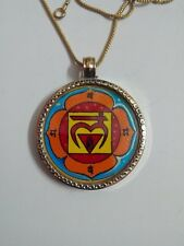 लं First Chakra Root or Muladhara Chakra Yellow Brass Photo Pendant With Chain.