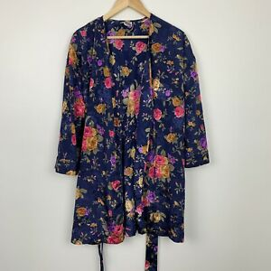 VTG Morgan Taylor Intimates Floral Shiny Night Gown Blue Robe Wrap Petite Small