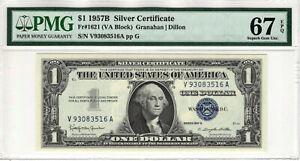1957 B $1 SILVER CERTIFICATE NOTE FR.1621 VA BLOCK PMG SUPERB GEM UNC 67 EPQ