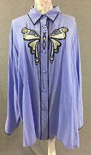Bob Mackie Wearable Art Womens Blouse Size 3X Butterfly Blue Silk Shirt