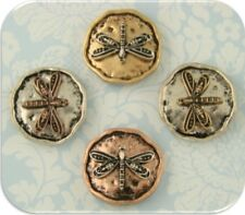 2 Hole Beads Dragonfly Damselfly Insect Rustic Circles ~ 3T Metal Sliders QTY 4